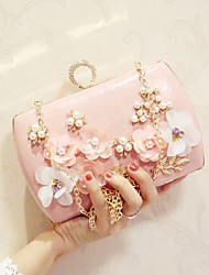 Women Bags All Seasons PU Evening Bag Flower for Wedding Event/Party Party & Evening White Black Pale Pink Apricot