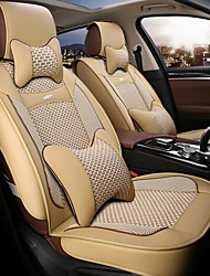 The 5 Seat Car Seat Leather Seat Cover Silk Cushion Surrounded By Four Seasons General 3D Stereo  Beige