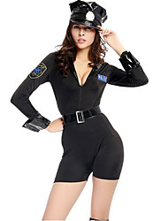 Women's Sexy Police Cosplay Costumes Festival/Holiday Halloween Costumes Fashion Leotard/Onesie More Accessories Waist Belt HatHalloween Carnival New