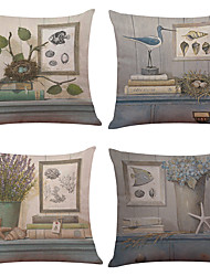 "Set of 6 Literary Style Printed Linen  Home Office Sofa Square Pillow Case Decorative (18""*18"")"