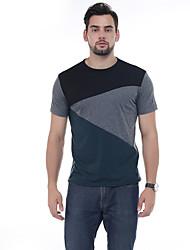 cheap -Men's Casual Casual Summer T-shirt,Color Block Jewel Neck Short Sleeves 100%Cotton 30D