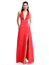 cheap -A-Line Plunging Neck Floor Length Satin Cut Out Prom / Formal Evening Dress with Split Front by TS Couture®