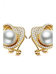 abordables -Mujer Pendiente - Perla, Zirconio Delicado, Diseño Único, Moda Dorado / Plata Para Boda / Cumpleaños / Fiesta