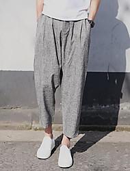 abordables -Hombre Chic de Calle Tiro Medio Microelástico Pantalones Harén Corte Ancho Chinos Pantalones,Un Color Algodón Primavera Todas las