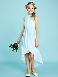cheap -Sheath / Column Jewel Neck Asymmetrical Chiffon Lace Junior Bridesmaid Dress with Pleats by LAN TING BRIDE®