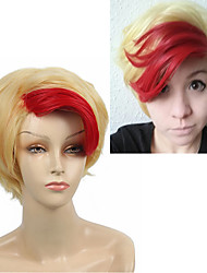 cheap -Short Straight Anime YURI!!! on ICE Minami Kenjiro Cosplay Wigs Synthetic Hair Red Highlight Light Gold for Halloween Heat Resistant