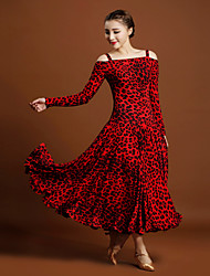 cheap -Ballroom Dance Dresses Women's Ice Silk Animal Print Long Sleeve Natural Dresses