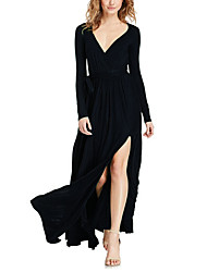 Women's Going out Beach Holiday Sexy Vintage Simple Sheath Swing Dress,Solid Deep V Maxi Long Sleeve Rayon All Seasons Spring Mid Rise