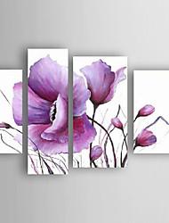 baratos -Pintados à mão Floral/Botânico Horizontal,Abstracto Moderno/Contemporâneo Nova chegada 4 Painéis Tela Pintura a Óleo For Decoração para