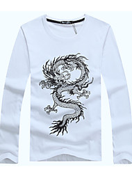 6 Colors Fashion Summer Men's Plus Size T Shirt 3D Dragon Printed Casual T-shirt Youth Brand Cotton Round Neck Long Sleeve Tee Shirts