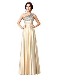 A-Line One Shoulder Floor Length Taffeta Prom Formal Evening Dress with Beading Pleats Sequins by Sarahbridal