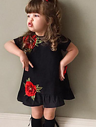cheap -Girl's Floral Fashion Dress, Cotton Summer Short Sleeves Ruffle Black