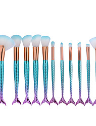 cheap -11pcs mermaid shaped makeup big fan brush set fish scale foundation powder eyeshadow contour blending cosmetic brushes