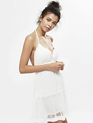 abordables -Femme lacet/Dos Nu Patineuse Robe Sortie Sexy simple,Couleur Pleine Fleur A Bretelles Mi-long Sans Manches Blanc Coton Eté Non Elastique
