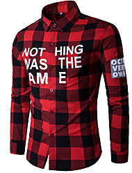 cheap -Men's Cotton Shirt - Plaid Print Classic Collar