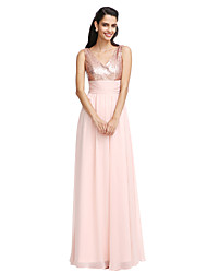 cheap -Sheath / Column V Neck Floor Length Chiffon Bridesmaid Dress with Sequin / Bow(s) / Sash / Ribbon by LAN TING BRIDE® / Sparkle & Shine