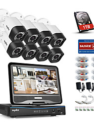 cheap -SANNCE® 8CH 8PCS 720P Weatherproof Security System with 4IN1 1080P LCD DVR Supported TVI Analog AHD IP Cameras & 1TB HD