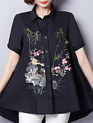 cheap -Women's Daily Plus Size Casual Street chic Chinoiserie Summer Shirt,Animal Print Shirt Collar Short Sleeves Others