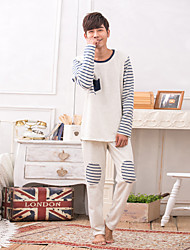 Winter Korean couple pajamas cotton long sleeves round neck stripes men and women home service pajamas suit