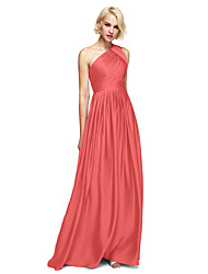 cheap -A-Line One Shoulder Floor Length Satin Chiffon Bridesmaid Dress with Side Draping by LAN TING BRIDE®