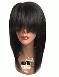 cheap -150% Density Brazilian Hair Bob Wigs Straight Hair Lace Front Human Hair Wigs Short Virgin Hair Bob Wig with Big Bang