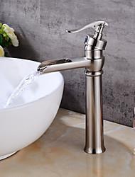 Moderne Set de centre Soupape céramique Mitigeur un trou for  Nickel brossé , Robinet lavabo