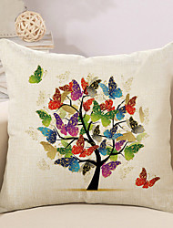 cheap -1 Pcs Beautiful Butterfly Tree Of Life Pillow Cover Square Sofa Cushion Cover Cotton/Linen Pillow Case