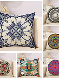 cheap -Set Of 6 Bohemian Style Design Flowers Printing Pillow Cover Sofa Cushion Cover Linen Pillow Case