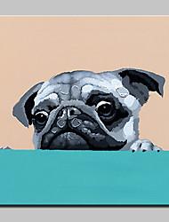 abordables -Peint à la main Animaux Carré, Abstrait Décoration artistique/Rétro Dessin Animé Adorable Moderne/Contemporain Toile Peinture à l'huile