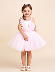 Ball Gown Knee Length Flower Girl Dress - Cotton Chiffon Tulle Sleeveless Straps with Flower