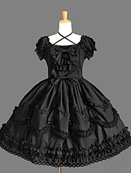 cheap -Gothic Lolita Dress Princess Punk Women's Girls' One Piece Dress Cosplay Cap Short Sleeves Short / Mini