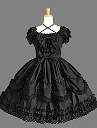 Gothic Lolita Dress Princess Punk Women's Girls' One Piece Dress Cosplay Cap Short Sleeves Short / Mini