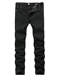 cheap -Men's Casual Cotton Straight Slim Jeans Pants - Solid Colored