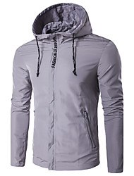 Men's Sport Daily Casual/Daily Sport Winter Spring/Fall Jacket,Solid Hooded Long Sleeve Regular Polyester