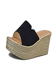 cheap -Women's Sandals Club Shoes PU Spring Summer Casual Dress Club Shoes Split Joint Wedge Heel Black Yellow Ruby 3in-3 3/4in