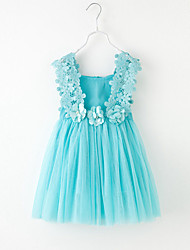 cheap -Girl's Floral Solid Color Patchwork Dress,Cotton Tulle Netting Summer Sleeveless Lace Blue White Blushing Pink