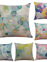 cheap -Set of 6 Color Graffiti Pattern Linen Pillowcase Sofa Home Decor Cushion Cover  Throw Pillow Case (18*18inch)