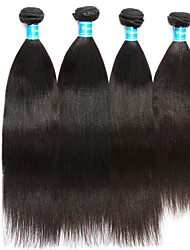 Vinsteen Yaki Human Hair Extensions 4Pcs Indian Hair Weave Natural Human Hair Weft Double Weft Human Hair Weaves Black Color Hair Weft Extensions