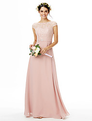 cheap -Sheath / Column Bateau Neck Floor Length Chiffon Lace Bridesmaid Dress with Beading Bow(s) Lace Sash / Ribbon by LAN TING BRIDE®