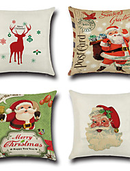 Set Of 4 Merry Christmas Design Santa Claus Pillow Cover Cotton/Linen Creative Pillow Case 45*45Cm Cushion Cover