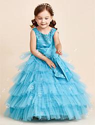 preiswerte -Ballkleid Bodenlänge Blumenmädchen Kleid - Polyester Ärmelloser Juwel Hals mit Applikation