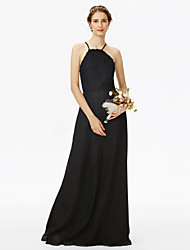 cheap -Sheath / Column Spaghetti Straps Floor Length Chiffon Lace Bridesmaid Dress with Lace Pleats by LAN TING BRIDE®