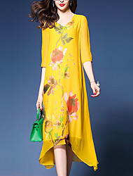 cheap -Women's Boho Loose Shift Dress - Floral, Printing V Neck