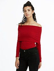 economico -Standard Pullover Da donna-Per uscire Casual Vacanze Semplice Moda città Tinta unita Rosa Rosso Bianco Nero Grigio Manica lunga Poliestere