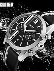 SKMEI Мужской Нарядные часы Модные часы Японский Кварцевый Календарь Защита от влаги Хронометр Кожа Группа Cool Повседневная Черный