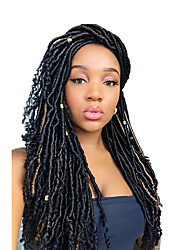 cheap -1 pack Faux Locs with curly end Crochet Braids kanekalon Hair Extensions African Braiding Kanekalon Soft Dread Locs 24 roots/pack 5pack for a head