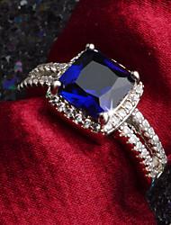 Недорогие -Жен. Обручальное кольцо Кольцо Цирконий Белый Темно-синий Светло-голубой Синтетические драгоценные камни Цирконий Круглый Elegant Мода