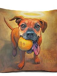 cheap -1 pcs Linen Pillow Case,Dog Modern/Contemporary
