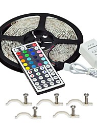 cheap -Led Strip Lights Kit 5050 Waterproof 5M 300leds RGB 60leds/m with 44key Ir Controller and 5PCS Mounting Bracket DC12V