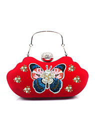 cheap -Women Bags Polyester Velvet Evening Bag Rhinestone Floral Embroidered for Wedding Birthday Event/Party Business Casual Stage Formal Party